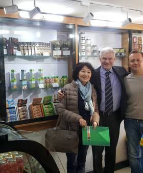 The hungarian Ambassador supervising the Htcc shop in Mongolia